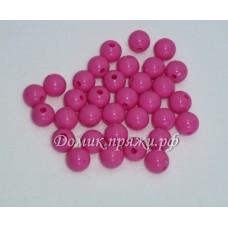 Бусины 10 мм ярко-розовые