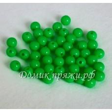 Бусины 10 мм ярко-зелёные