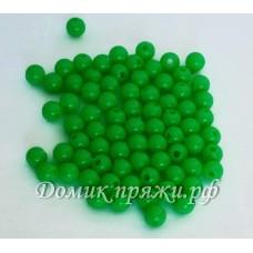 Бусины 6 мм зеленые