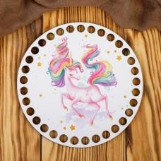 Донышки: Круг Единорог на белом 15см