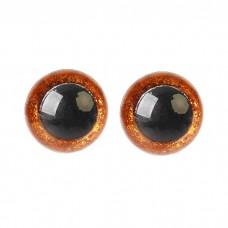 Глазки винтовые Блестки-среднее качество 12мм коричневый