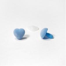 Носик винтовой бархатный 14х15мм сердечко голубой