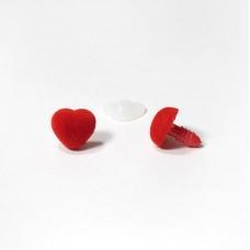 Носик винтовой бархатный 13х13 сердце красный