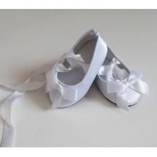 Обувь для кукол туфли атласные 7 см белые